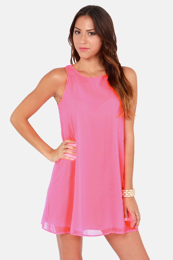 Let's Do Lunch Neon Pink Dress at Lulus.com!