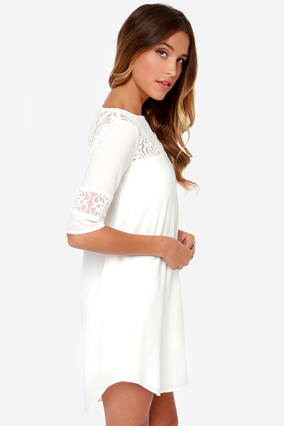 BB Dakota Devera Ivory Lace Shift Dress at Lulus.com!