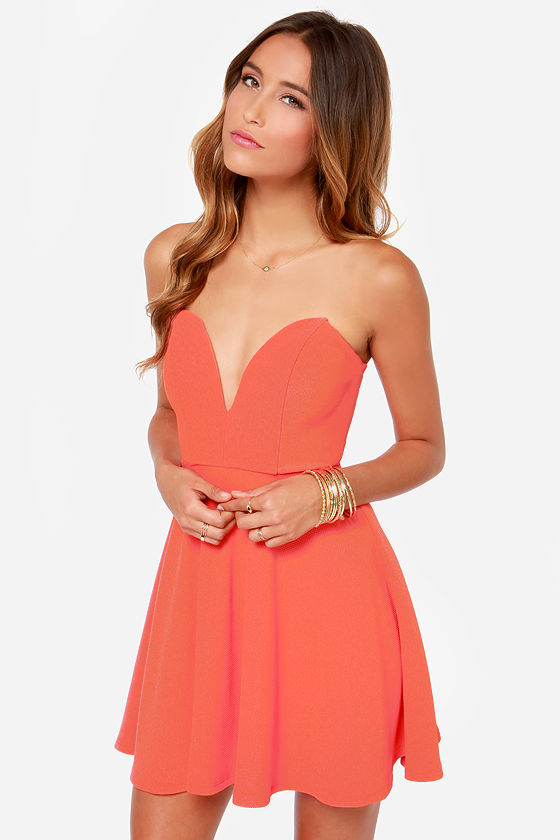 Strapless Coral Dresses