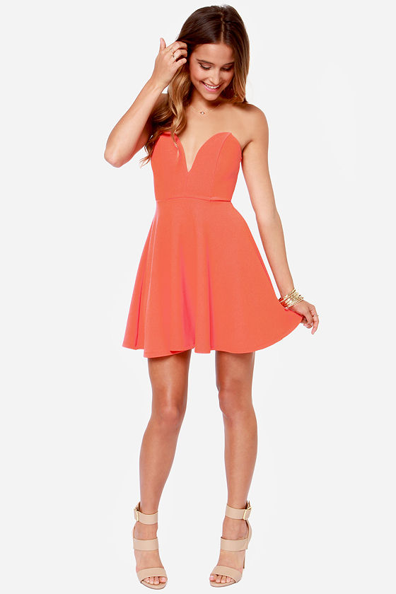 Strapless Dress - Coral Dress - Sweetheart Dress - $37.00