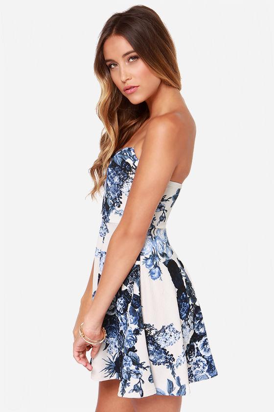 Strapless Dress - Ivory Dress - Floral Print Dress - Sweetheart ...