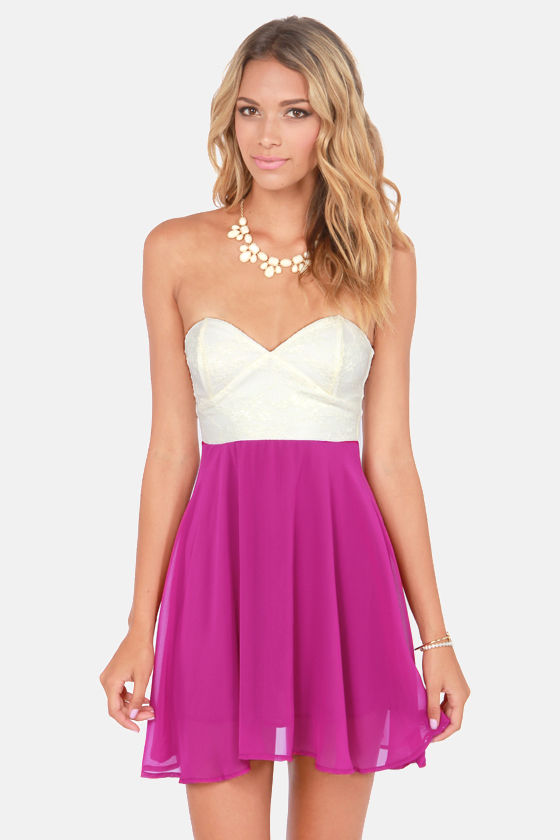 Ta-ra-ra Bustier! White and Magenta Dress at Lulus.com!