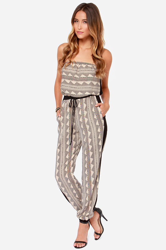 LULUS Exclusive Need I Say More? Strapless Black Print Jumpsuit at Lulus.com!