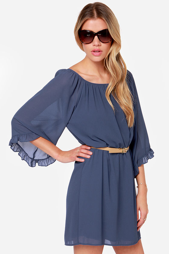 LULUS Exclusive Frill for the Taking Denim Blue Shift Dress at Lulus.com!