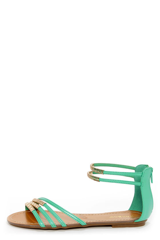 827c5aad5 Bamboo Haile 01 Seafoam and Gold Strappy Gladiator Sandals -  28.00