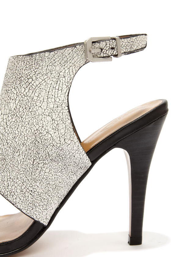 Report Signature Olaf White Crackle High Heel Sandals at Lulus.com!