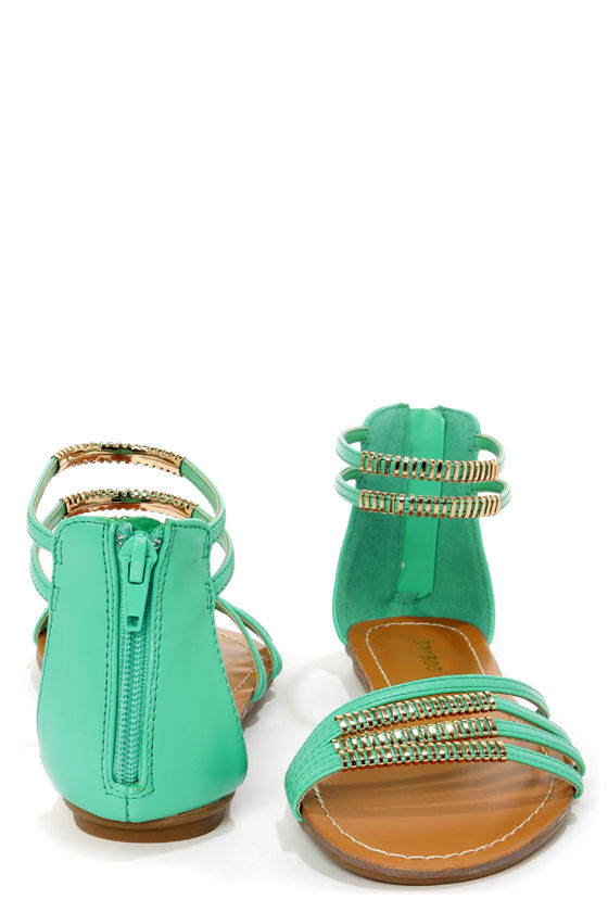 Bamboo Haile 01 Seafoam and Gold Strappy Gladiator Sandals at Lulus.com!