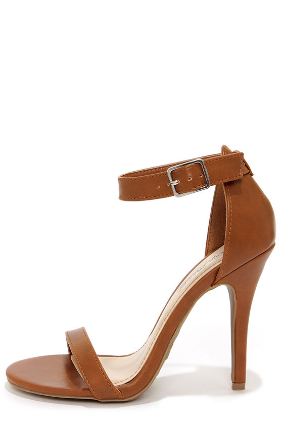 Anne Michelle Enzo 01N Chestnut Single Strap Heels at Lulus.com!