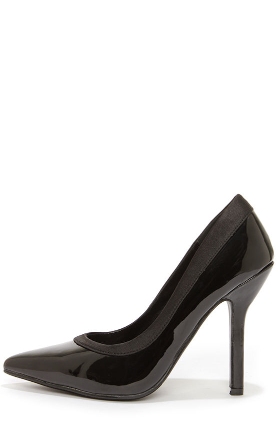 C Label Luxe 11 Black Patent Pointed Pumps at Lulus.com!