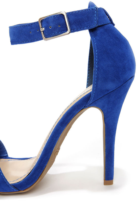 Anne Michelle Enzo 01N Blue Suede Single Strap Heels at Lulus.com!
