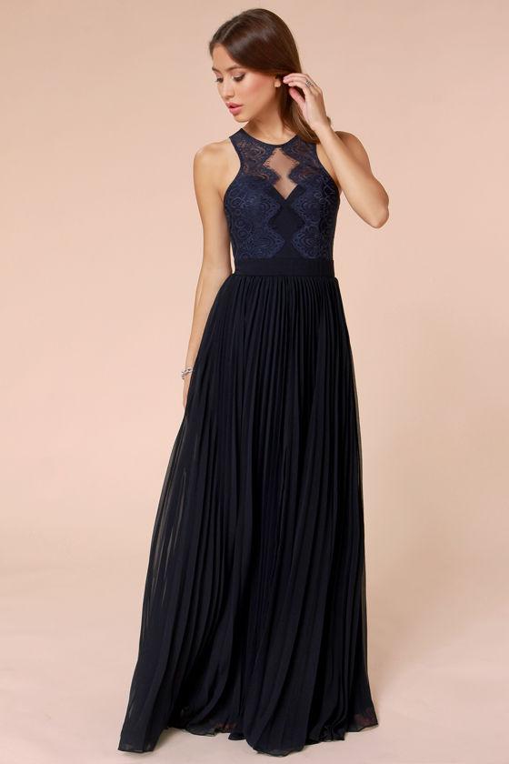 Lovely Navy Blue Dress - Lace Dress - Maxi Dress - $248.00