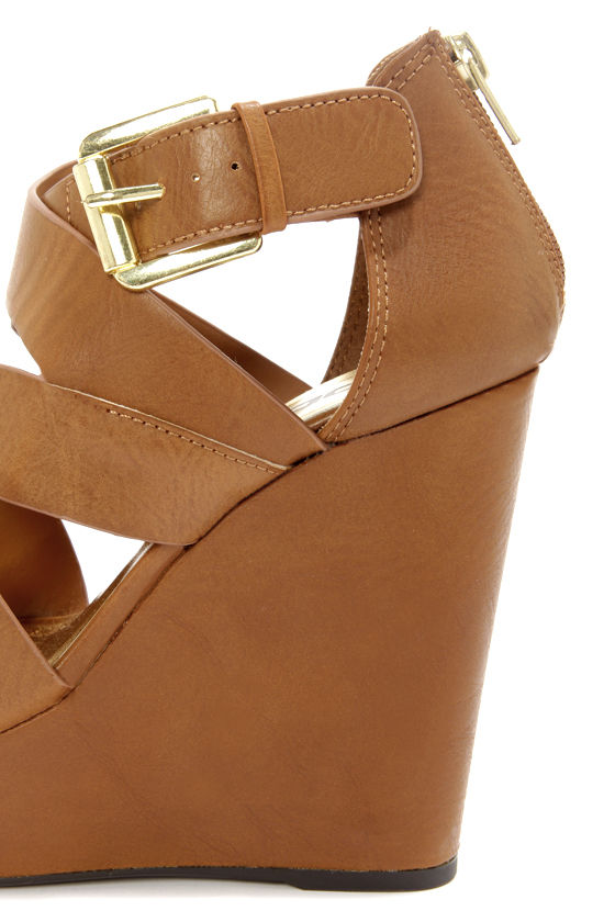 Soda Hat Tan Strappy Platform Wedge Sandals at Lulus.com!