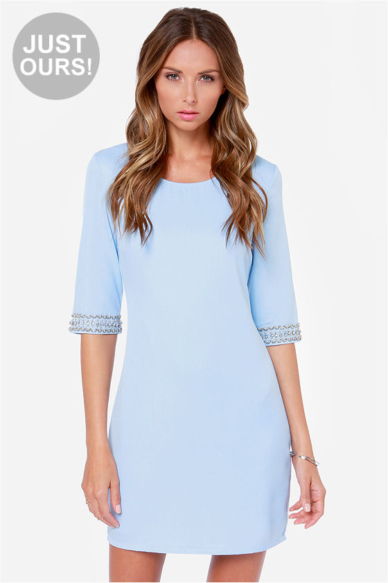 Pretty Light Blue Dress - Beaded Dress - Sheath Dress - $44.00