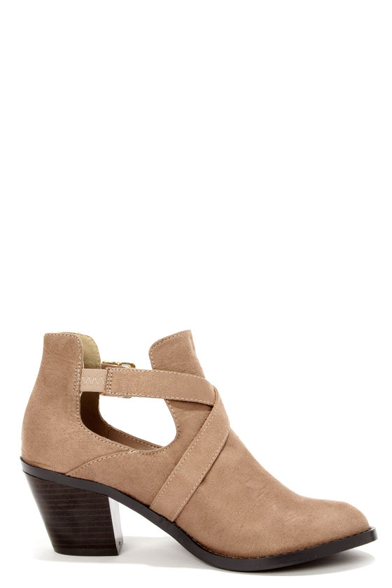 Soda Tidy Light Taupe Belted Cutout Ankle Boots at Lulus.com!