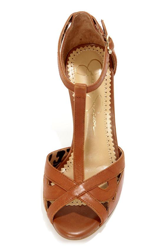 Jessica Simpson Jeraldine Burnt Umber Peep Toe T-Strap Heels at Lulus.com!