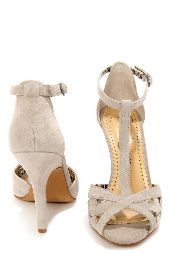 8202a510f3c Jessica Simpson Jeraldine Elephant Grey Peep Toe T-Strap Heels -  81.00