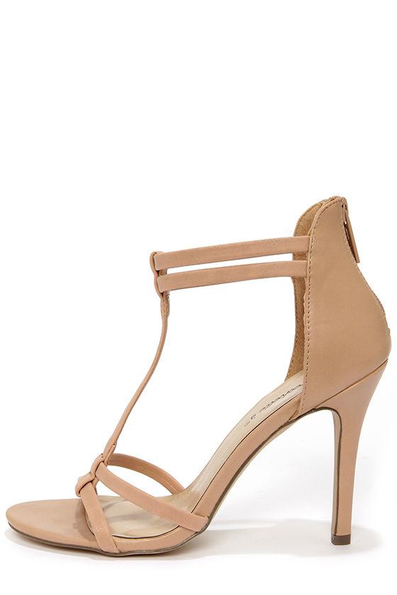 a1522ee4f2a Cute T Strap Sandals - Dress Sandals - Nude Heels -  28.00