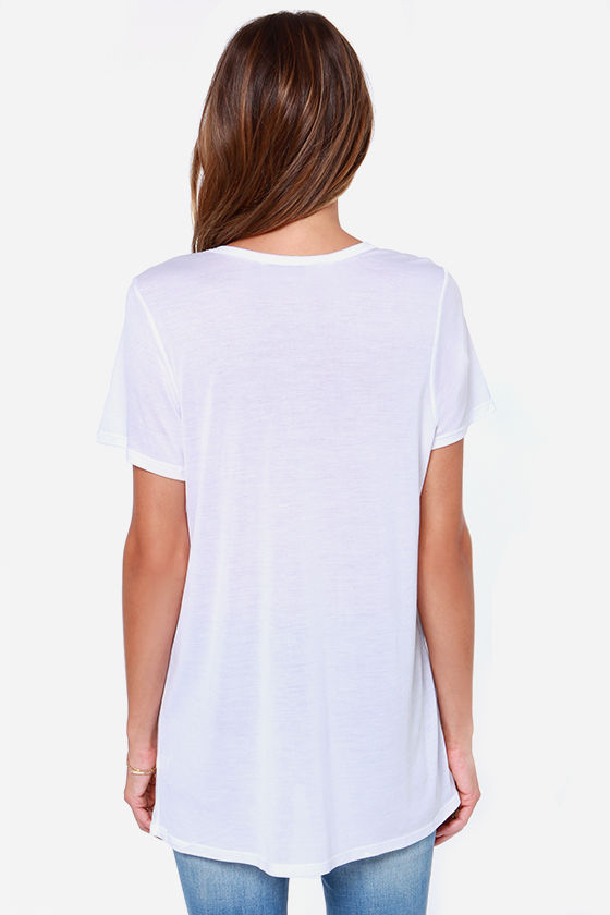 Laundry Room OOTD White Tee at Lulus.com!