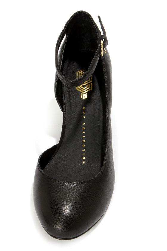 Envy Billie Black Round Toe D'Orsay Wedge Heels at Lulus.com!