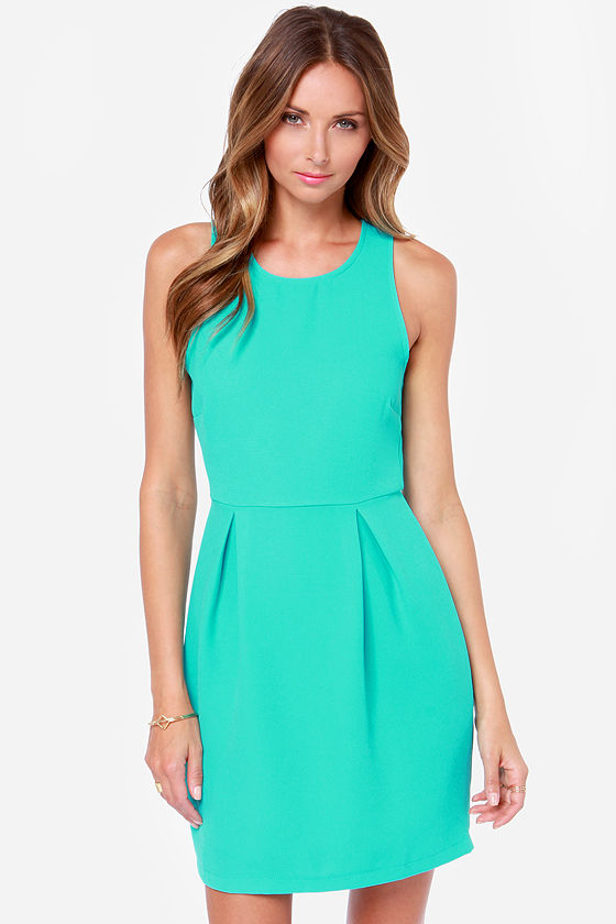 Pretty Turquoise Dress - Sheath Dress - Zipper Dress - $47.00
