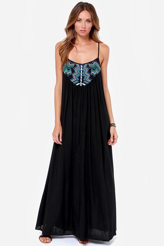 Cute Black Dress Maxi Dress Embroidered Dress 4300