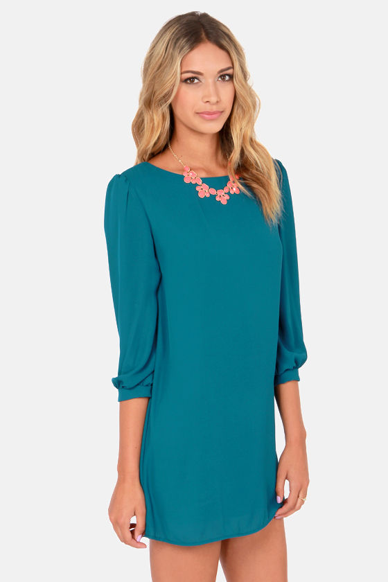 World's Greatest Dark Teal Blue Shift Dress at Lulus.com!