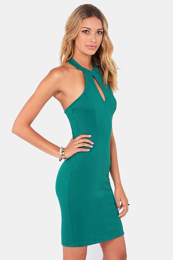 Meet Me at the Halter Dark Teal Halter Dress at Lulus.com!