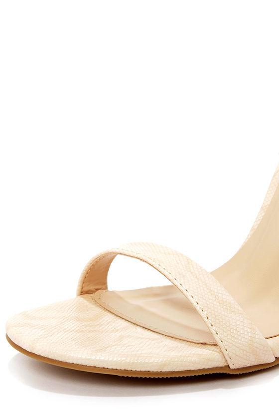 Wild Diva Lounge Adele 94 Natural Snakeskin Ankle Strap Heels at Lulus.com!