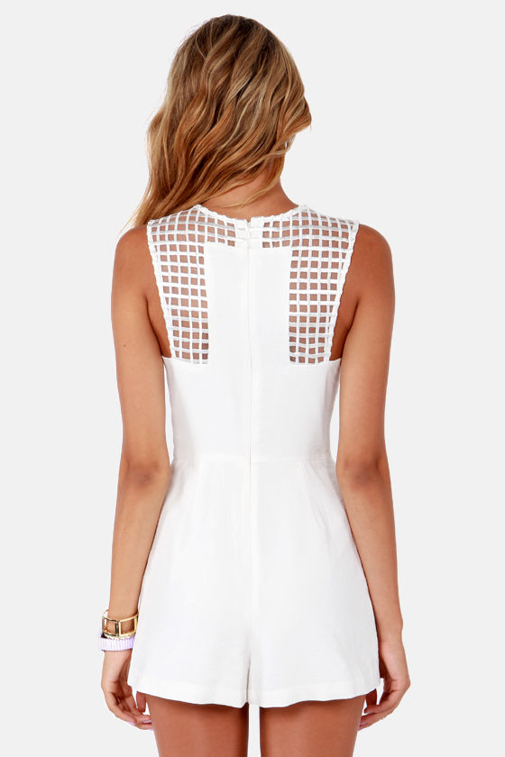 Finders Keepers Here We Go Ivory Romper at Lulus.com!