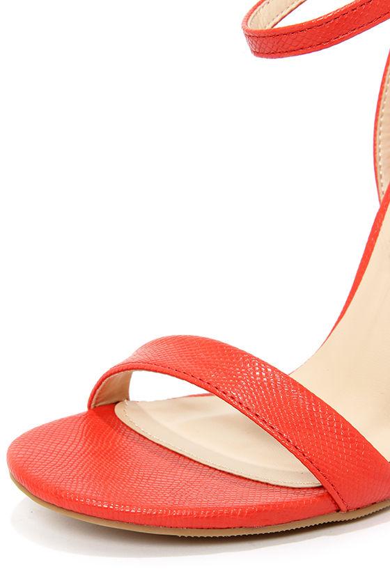 Wild Diva Lounge Adele 94 Orange Red Snakeskin Ankle Strap Heels at Lulus.com!