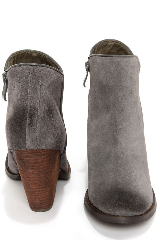 562e083fda7d Very Volatile Whitby Charcoal Suede Leather Wedge Booties