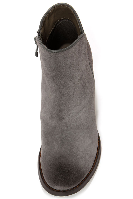 Very Volatile Whitby Charcoal Suede Leather Wedge Booties at Lulus.com!