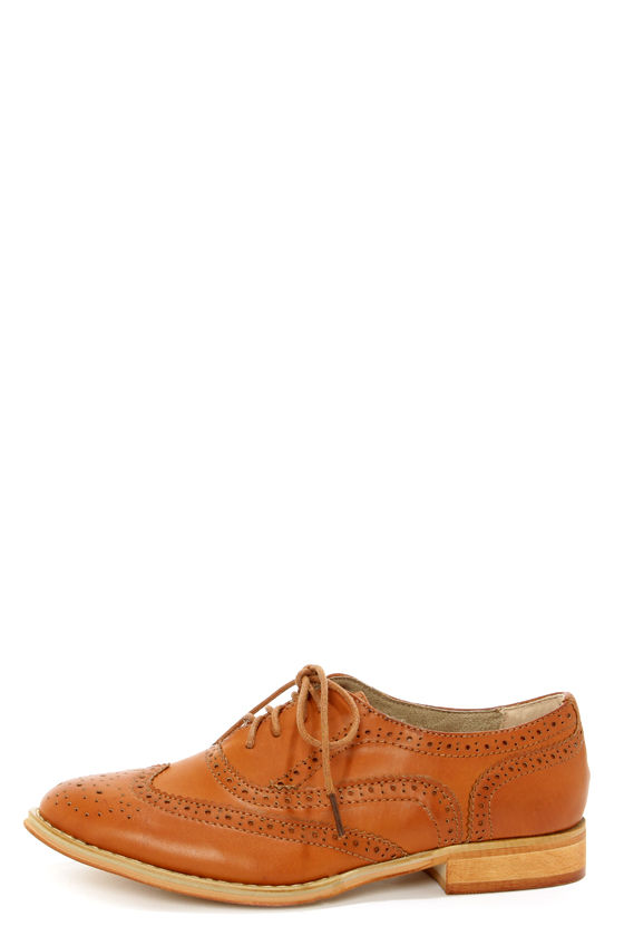 Wanted Babe Tan Lace-Up Brogue Oxfords at Lulus.com!