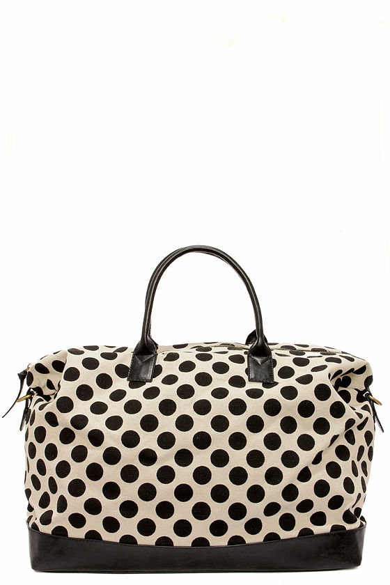 LULUS Exclusive Dotty By Nature Black Polka Dot Weekender Bag at Lulus.com!