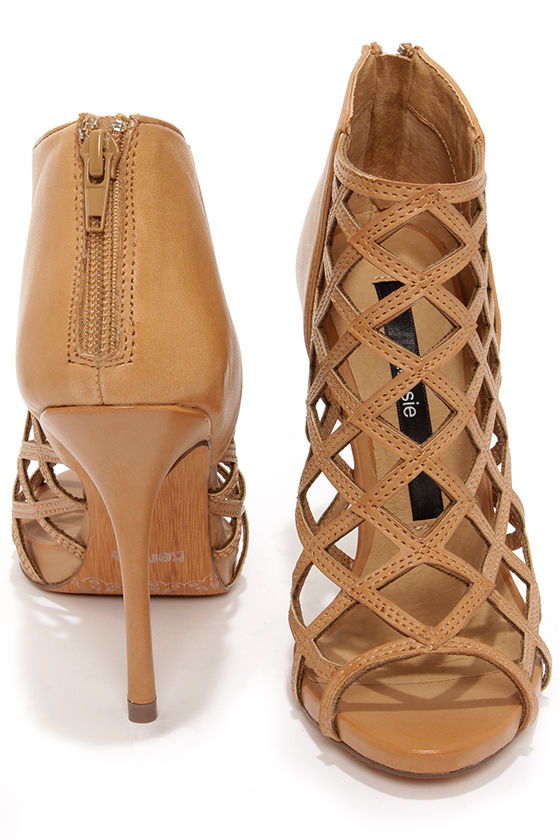 Kensie Biggie Tan Leather Latticework Heel Booties at Lulus.com!