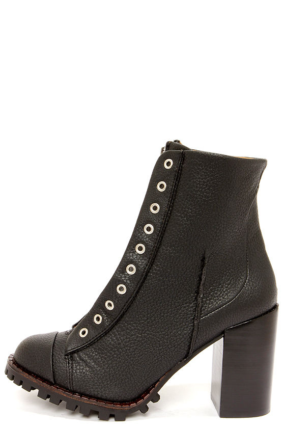 Cute Black Boots - High Heel Boots - Ankle Boots - $103.00
