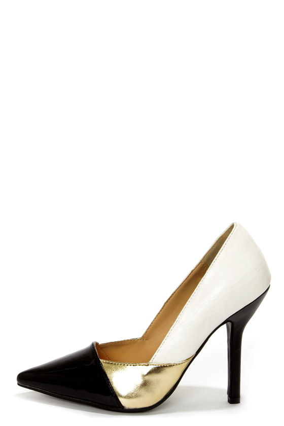 C Label Luxe 10 White, Gold, and Black Patent Pointed Pumps at Lulus.com!