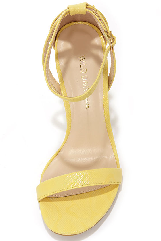 Wild Diva Lounge Adele 94 Light Yellow Ankle Strap Heels at Lulus.com!