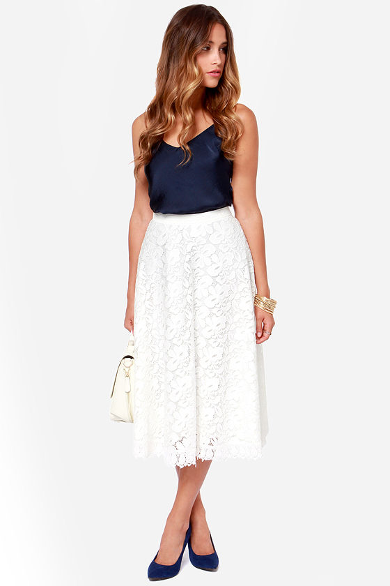 High Spirits Ivory Lace Midi Skirt at Lulus.com!