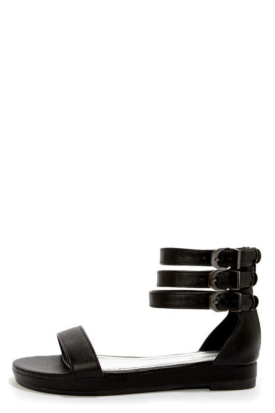 162654030756 Bamboo Formula 04 Black Triple Ankle Strap Flatform Sandals -  31.00