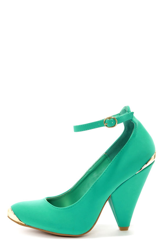 Bamboo Thelma 03 Sea Green Nubuck Ankle Strap Pointed Heels at Lulus.com!