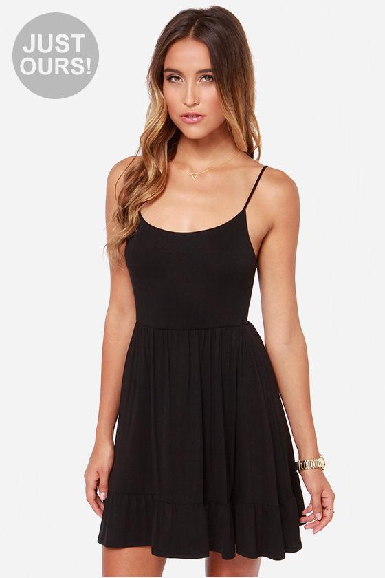 Pretty Black Dress Empire Waist Dress Sleeveless Dress 3300