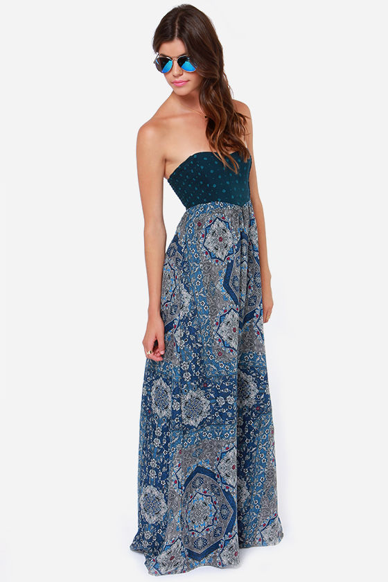 Roxy Super Nova Strapless Blue Print Maxi Dress at Lulus.com!