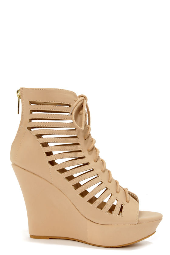 Bamboo Charli 32 Nude Cutout Lace-Up Wedge Booties at Lulus.com!