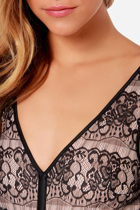 Move to Appeal Blush and Black Lace Dress at Lulus.com!