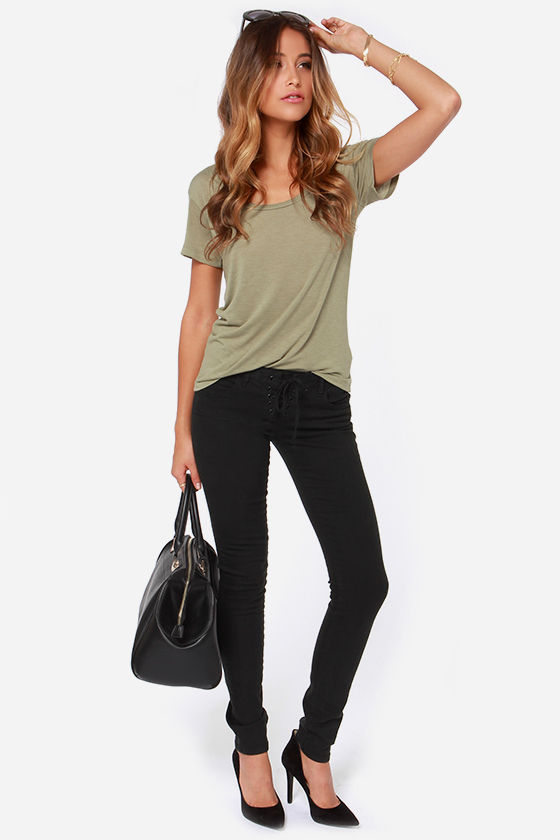 Billabong Essential Boyfriend Olive Green Tee at Lulus.com!