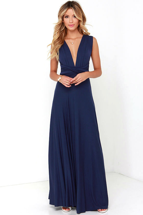 Awesome Navy Blue Dress - Maxi Dress - Wrap Dress - $78.00
