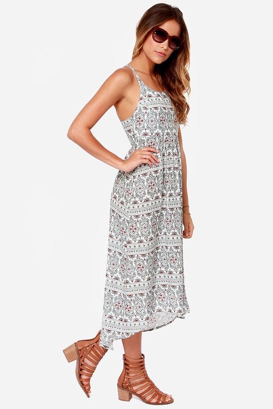 Roxy Kaleidoscope Ivory Print Midi Dress at Lulus.com!
