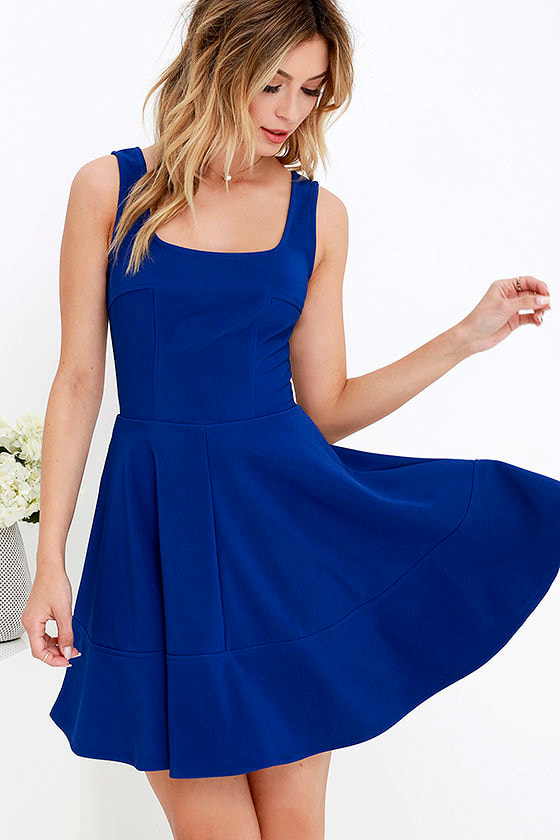 Pretty Cobalt Blue Dress - Skater Dress - $42.00