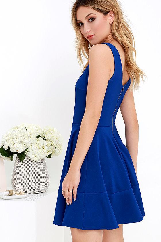 Pretty Cobalt Blue Dress - Skater Dress - $42.00